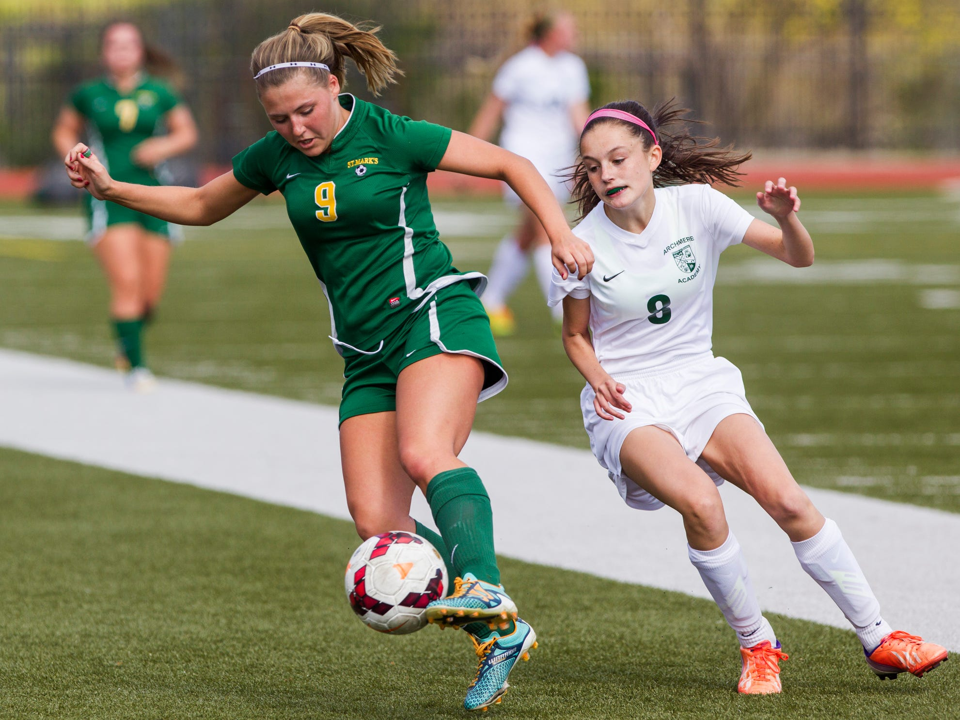 St. Mark's Cassandra Neubauer takes the ball away from Archmere's Dara Dawson Wednesday afternoon in a game won by Archmere 2-1.
