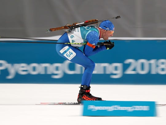 Lowell Bailey competes Feb. 11, 2018 in the men's biathlon 10km sprint during the Pyeongchang 2018 Olympic Winter Games at Alpensia Biathlon Centre.
