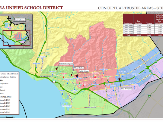 The Ventura Unified board of trustees voted to approve a move to district elections and approved a map that divides Ventura into five areas.