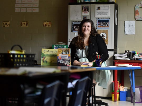 Bentonia Gibbs Elementary teacher Danielle Creel sits in her classroom Tuesday, Sept. 26, 2017. Creel has incorporated civil rights movement history in her lesson plans for her fourth-graders.