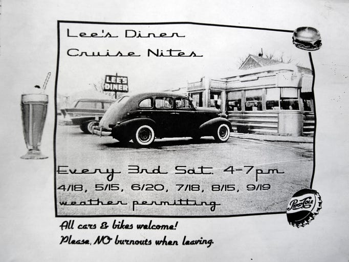An old promotion for Lee's Diner Cruise Nites asks