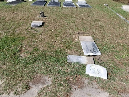Headstones at the Milton Historic Cemetery that were