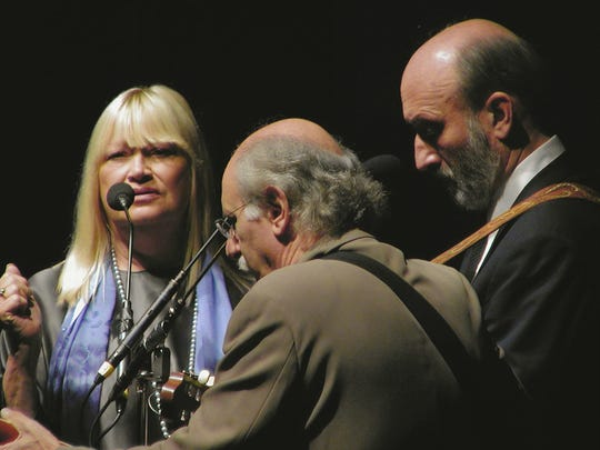 Mary Travers (from left), Noel Paul Stookey and Peter Yarrow perform as Peter, Paul & Mary. Travers died in 2009, but Stookey and Yarrow continue to perform, and Stookey will be in Ventura on Tuesday night at the Rubicon Theatre.