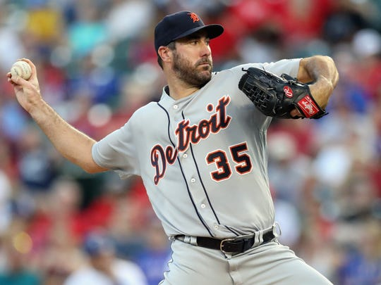 Tigers pitcher Justin Verlander throws against the Rangers in the second inning on Tuesday, Aug. 15, 2017, in Arlington, Texas.