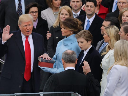 The inauguration of President Donald J. Trump on the steps of the US Capitol Building making him teh 45th president of the United States.