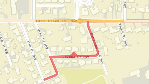 Lane closure on Glen Creek to install water lines.