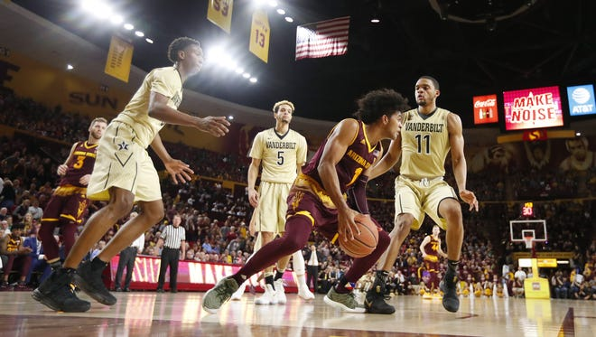 Arizona State guard Remy Martin (1) dribbles along the baseline against Vanderbilt during the second half at Wells Fargo Arena in Tempe, Ariz. December 17, 2017.