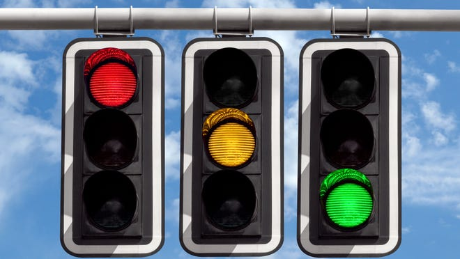 Red, Yellow, and Green traffic lights.