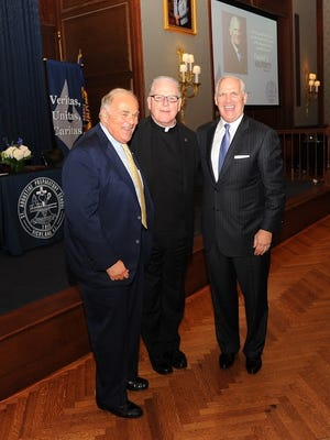 (From left) Former Pennsylvania governor Ed Rendell, Father Donald F. Reilly of St. Augustine College Preparatory School and 2014 Gregor Mendel Medal recipient Dan Hilferty at the Mendel award dinner.