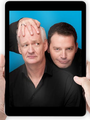 "Comedians Colin Mochrie, left, and  Brad Sherwood will perform ""Stream of Consciousness,"" an all-new live improv show via Zoom, at 8 p.m. Oct. 30 in coordination with several theaters, including The Hanover Theatre and Conservatory for the Performing Arts in Worcester."