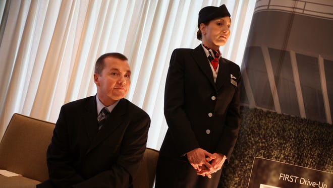 British Airways CEO Willie Walsh (left) after speaking at a press conference at JFK International Airport on May 21, 2008.