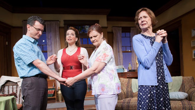 """The cast of """"The Savannah Disputation"""" at Penguin Rep is, from left: Bill Phillips (Father Murphy), Kate Siepert (Melissa), Tina Johnson (Margaret) and Susan Pellegrino (Mary)."""