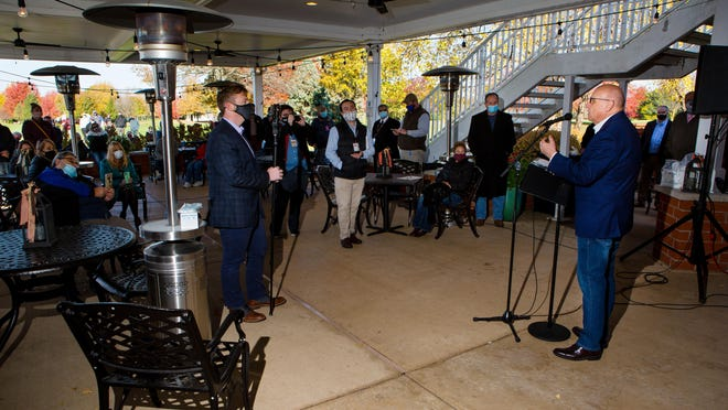 Illinois state Rep. Mike Murphy, R-Springfield, addresses a press conference at Panther Creek Country Club about the recently announced Region 3 COVID-19 mitigation measures Friday, Oct. 30, 2020. Murphy and others spoke out against what they said is a lack of transparency around the data used to justify restrictions on small businesses, especially bars and restaurants.