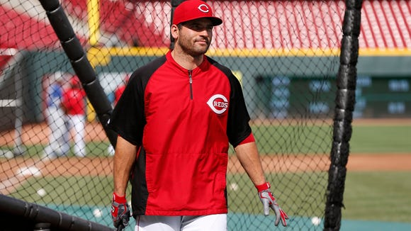 Reds first baseman Joey Votto finishes batting practice on June 10.