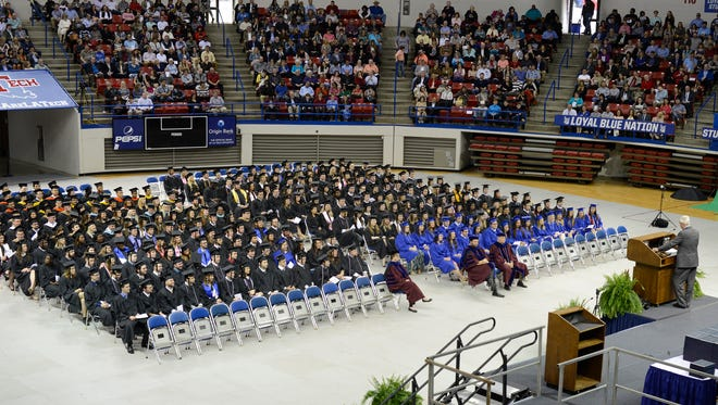 326 new Louisiana Tech graduates listen to keynote speaker Ronny Walker during winter commencement Saturday.