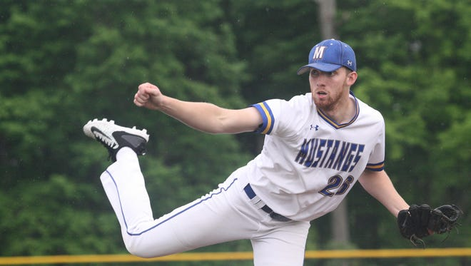 Madeira senior Sam Wirsing pitches in a sectional final win over Williamsburg at Indian Hill on Wednesday, May 16, 2018.