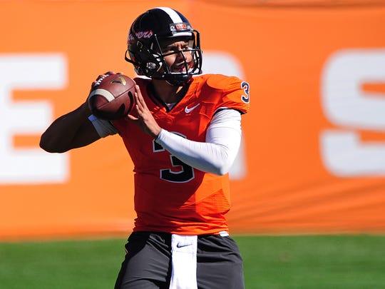 Oregon State quarterback Marcus McMaryion throws the ball during spring practice inside Reser Stadium, on Saturday, March 7, 2015, in Corvallis.