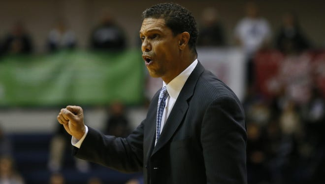 Monmouth Hawks head coach King Rice calls out a play during second half against Canisius Golden Griffins at  Ocean First Bank Center, West Long Branch,NJ. Monmouth Hawks defeated Canisius Golden Griffins 94-88. Sunday, December 4, 2016.                                                                             Noah K. Murray-Correspondent/Asbury Park Press ASB 1205 Monmouth Basketball