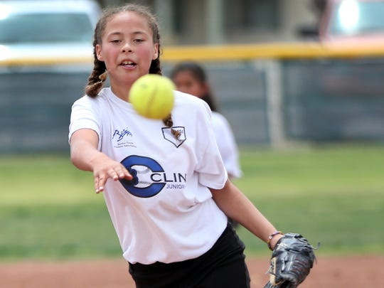 Pitcher Jenna Miranda pitches during a game Saturday