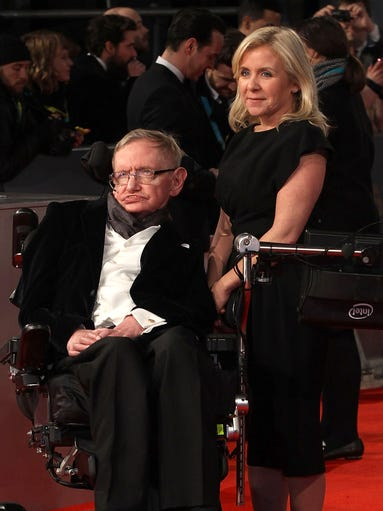 Stephen Hawking and daughter Lucy Hawking attend the