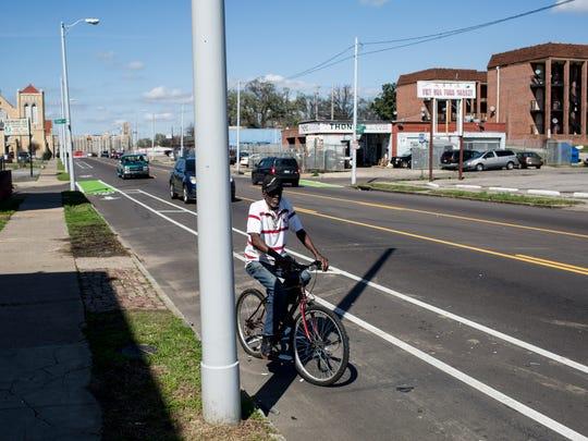 Bike lanes have been established on North Cleveland Street.