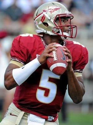 Florida State Seminoles quarterback Jameis Winston (5) looks to throw the ball during the spring game at Doak Campbell Stadium.