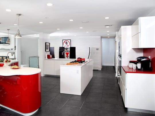 The colors of the kitchen match the Run DMC logo –