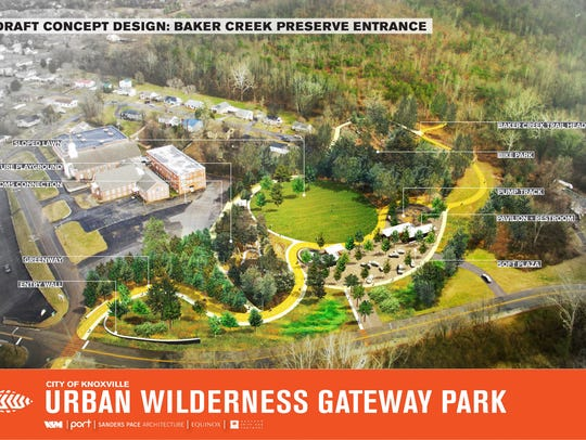Draft concept design for the Baker Creek Preserve entrance