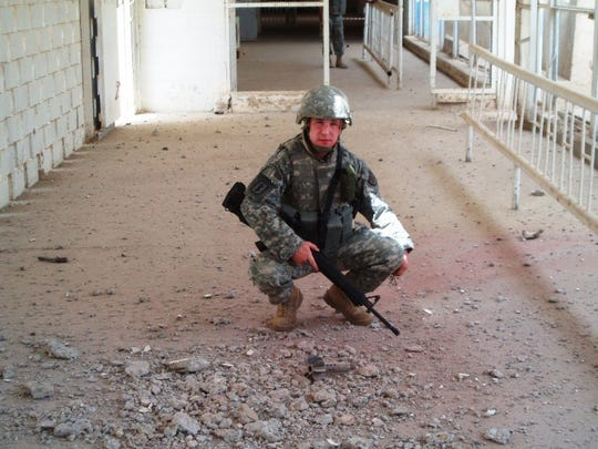 Andrew Duffy of Iowa served as a medic in Iraq. Here he encounters the leftovers of a mortar attack.