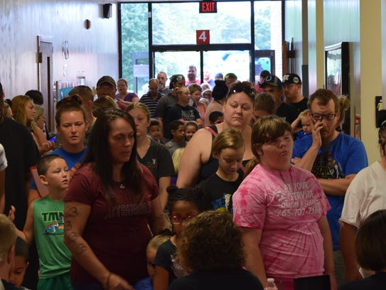 Grissom Elementary School students and parents attend