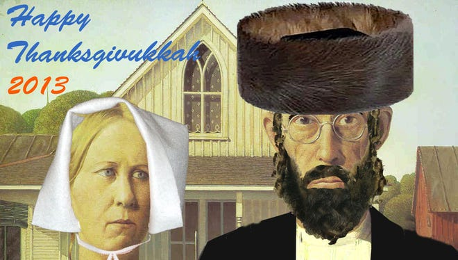 """Kim DeMarco designed this poster for """"Thanksgivukkah."""" The farmers in Grant Wood's 'American Gothic' already had some features that clicked with DeMarco's interpretation of Jews' and Pilgrims' plights."""