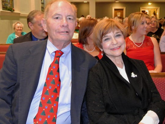 Sam Galloway, left, and wife Kathy, at a recent Christmas Carol Sing at First Presbyterian Church if Fort Myers.
