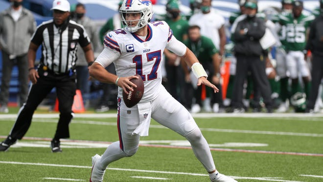 Quarterback Josh Allen was superb in Sunday's win over the Jets with his passing, running and decisions, but he still needs to take better care of the football.