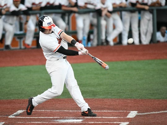 Oregon State's Kyle Nobach swatted a two-run homer in the Beavers win over Northwestern State in the Corvallis Regional on June 1, 2018.