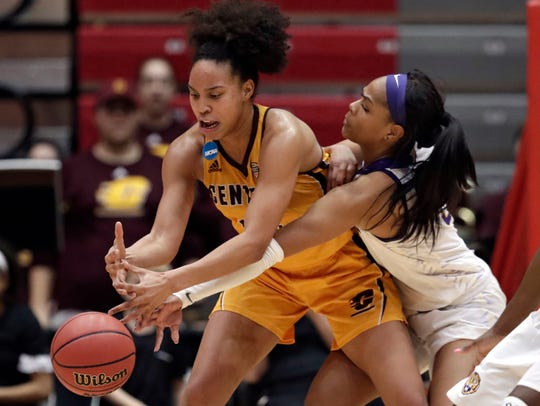Central Michigan's Tinara Moore, left, and LSU's Ayana