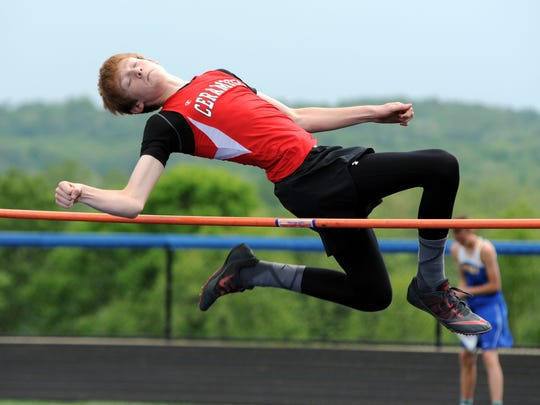 Crooksville's Teck Kirkpatrick competes in the high jump at the 2015 Muskingum Valley League Championships at Maysville High School in Newton Township.