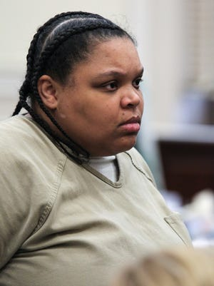 Andrea Bradley at her sentencing Wednesday Jan. 24, 2018 in Hamilton County Common Pleas Court. Bradley pleaded no contest early this month to murder and child abuse charges in the 2015 death of her 2-year-old daughter, Glenara.