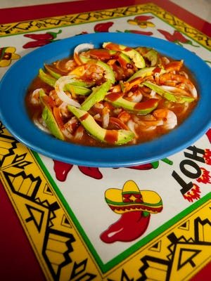 The Santa Fe Mexican Grill's aguachile, made with shrimp, and fresh avocado slices in liquid seasoned with ground red hot dry chili peppers,  Valentine hot sauce, lime juice and oregano.April 16, 2018