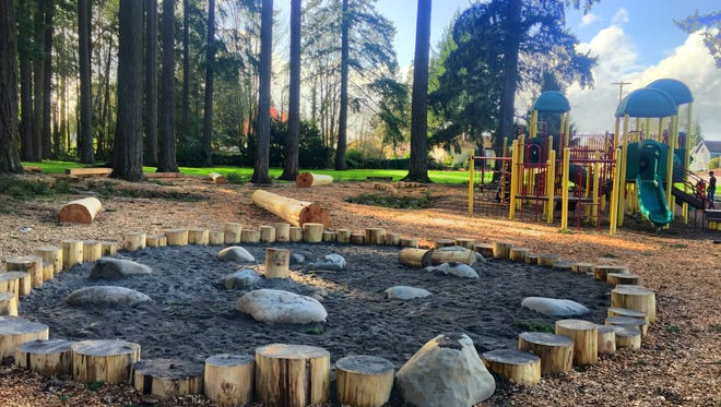 Stayton's Pioneer Park upgrade includes a natural play area.