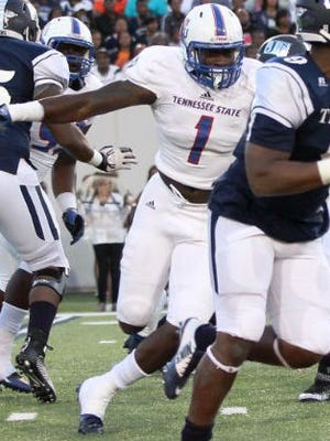 Tennessee State's Ebenezer Ogundeko was named the OVC Defensive Player of the Year by the media.