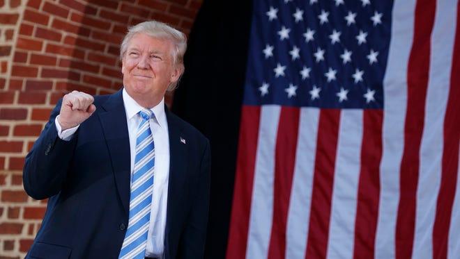 Republican presidential candidate Donald Trump arrives to speak at a campaign rally at Regent University, Saturday, Oct. 22, 2016, in Virginia Beach, Va. (AP Photo/ Evan Vucci)