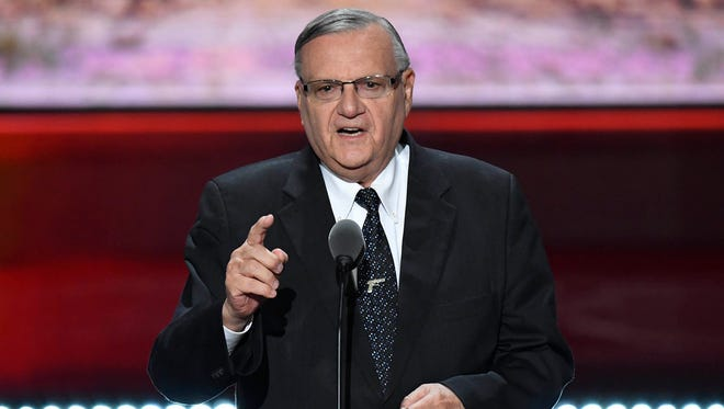Maricopa County (Ariz.) Sheriff Joe Arpaio speaks during the 2016 Republican National Convention at Quicken Loans Arena in Cleveland. A judge has referred Arpaio for criminal prosecution after finding him in contempt of court.