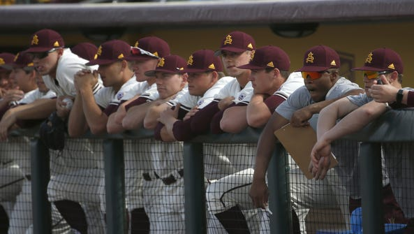 ASU watches as they play Northwestern during a game