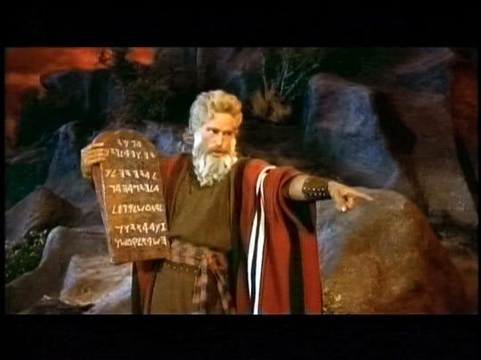 "Charlton Heston in a scene from the motion picture ""The Ten Commandments."""