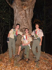From left, Dominic McMahon, Devin Bialy and Jeremy Cherevko have achieved Eagle Scout level.