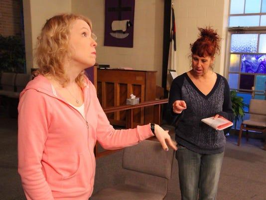 Actors Jenny Miller and Karen Drum, photo by Matthew C Sheehy