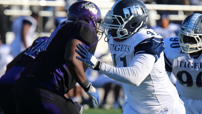 JSU defensive end Teddrick Terrell (41) posted five tackles on Saturday, but the defense struggled as a whole against Prairie View A&M.
