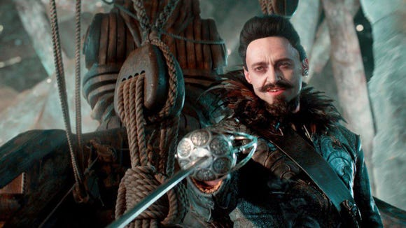 """Hugh Jackman stars as a loathsome pirate in """"Pan""""."""