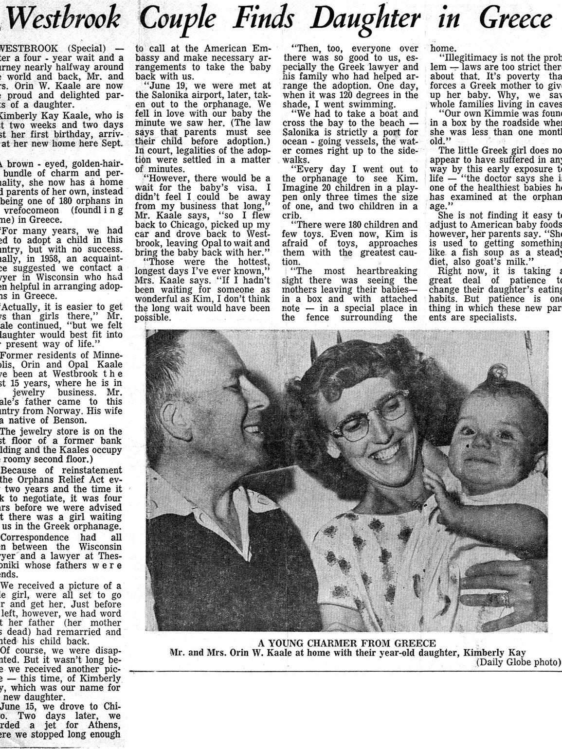 The Worthington Daily Globe did a story on Kim's adoption