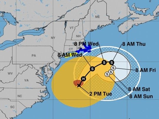 Hurricane Jose's projected path, as of 2 p.m. Tuesday.